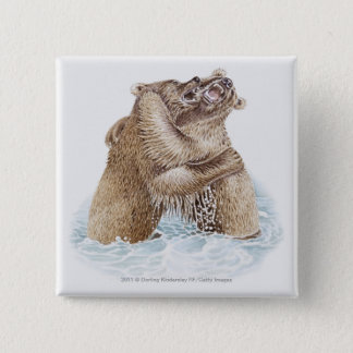Illustration of two Brown Bears fighting in water Pinback Button