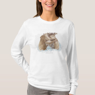 Illustration of two Brown Bears fighting in water T-Shirt