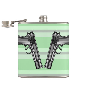 Illustration of two pistols flask