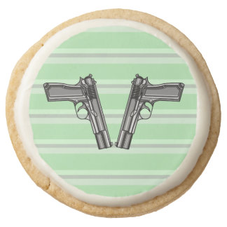 Illustration of two pistols round shortbread cookie