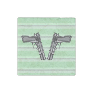Illustration of two pistols stone magnet