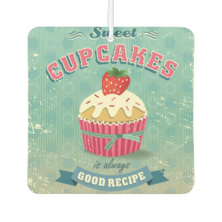 Illustration of vintage cupcakes sign car air freshener
