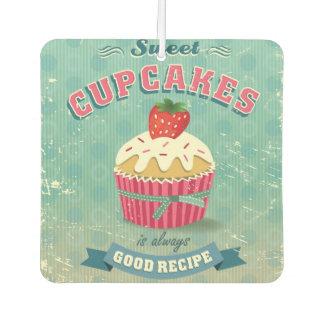 Illustration of vintage cupcakes sign car air freshener