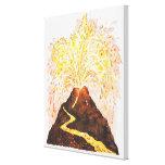 Illustration of volcano erupting gallery wrap canvas
