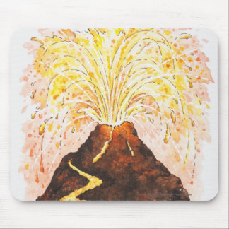 Illustration of volcano erupting mouse pad