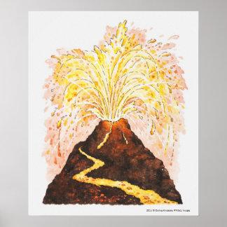 Illustration of volcano erupting poster