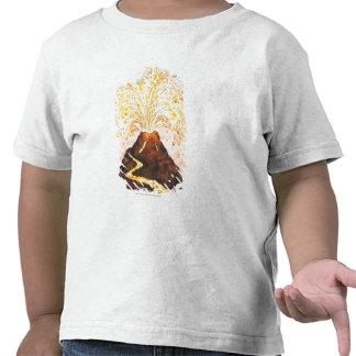 Illustration of volcano erupting tee shirts