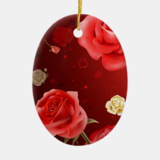 illustration of white and red roses ceramic ornament