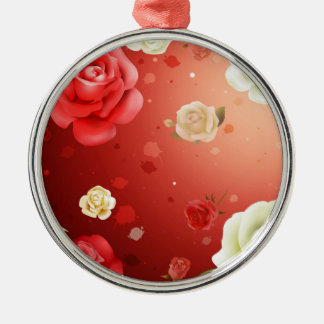illustration of white and red roses metal ornament