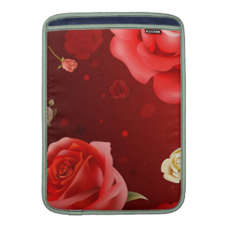 illustration of white and red roses sleeves for MacBook air