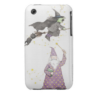 Illustration of wizard, witch on broomstick and Case-Mate iPhone 3 cases
