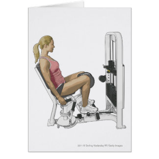 Illustration of woman using hip abductor card