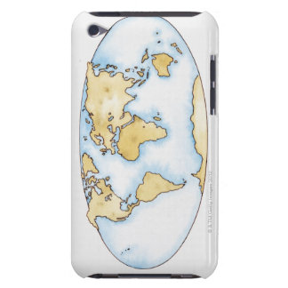 Illustration of world map barely there iPod case