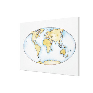 Illustration of world map stretched canvas print