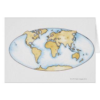 Illustration of world map card