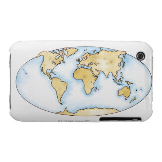 Illustration of world map Case-Mate iPhone 3 case