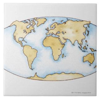 Illustration of world map ceramic tile