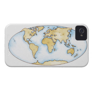 Illustration of world map iPhone 4 case