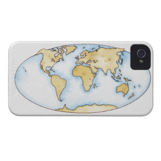 Illustration of world map iPhone 4 covers