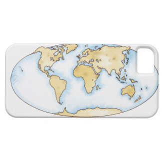 Illustration of world map iPhone 5 cover
