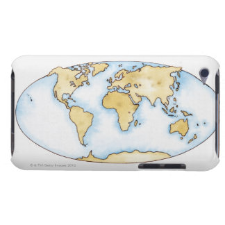 Illustration of world map iPod touch cover