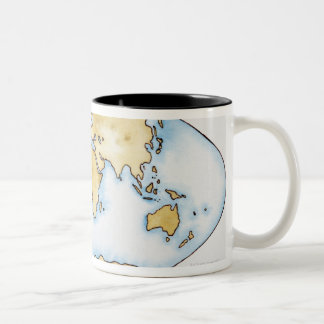 Illustration of world map coffee mugs