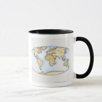 Illustration of world map mug