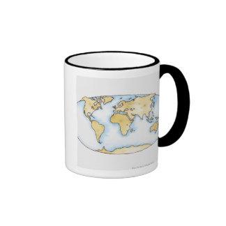 Illustration of world map mugs
