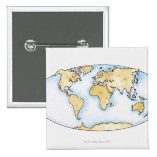Illustration of world map pinback button