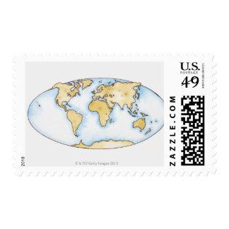 Illustration of world map postage