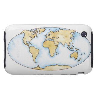 Illustration of world map tough iPhone 3 cases