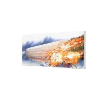 Illustration of Zeppelin bursting into flames Canvas Print