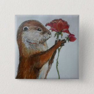 Illustration otter holding a single red rose pinback button