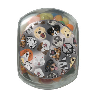Illustration Pattern Dogs Glass Jars