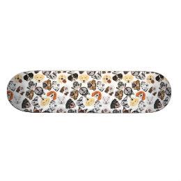 Illustration Pattern Dogs Skateboard Deck