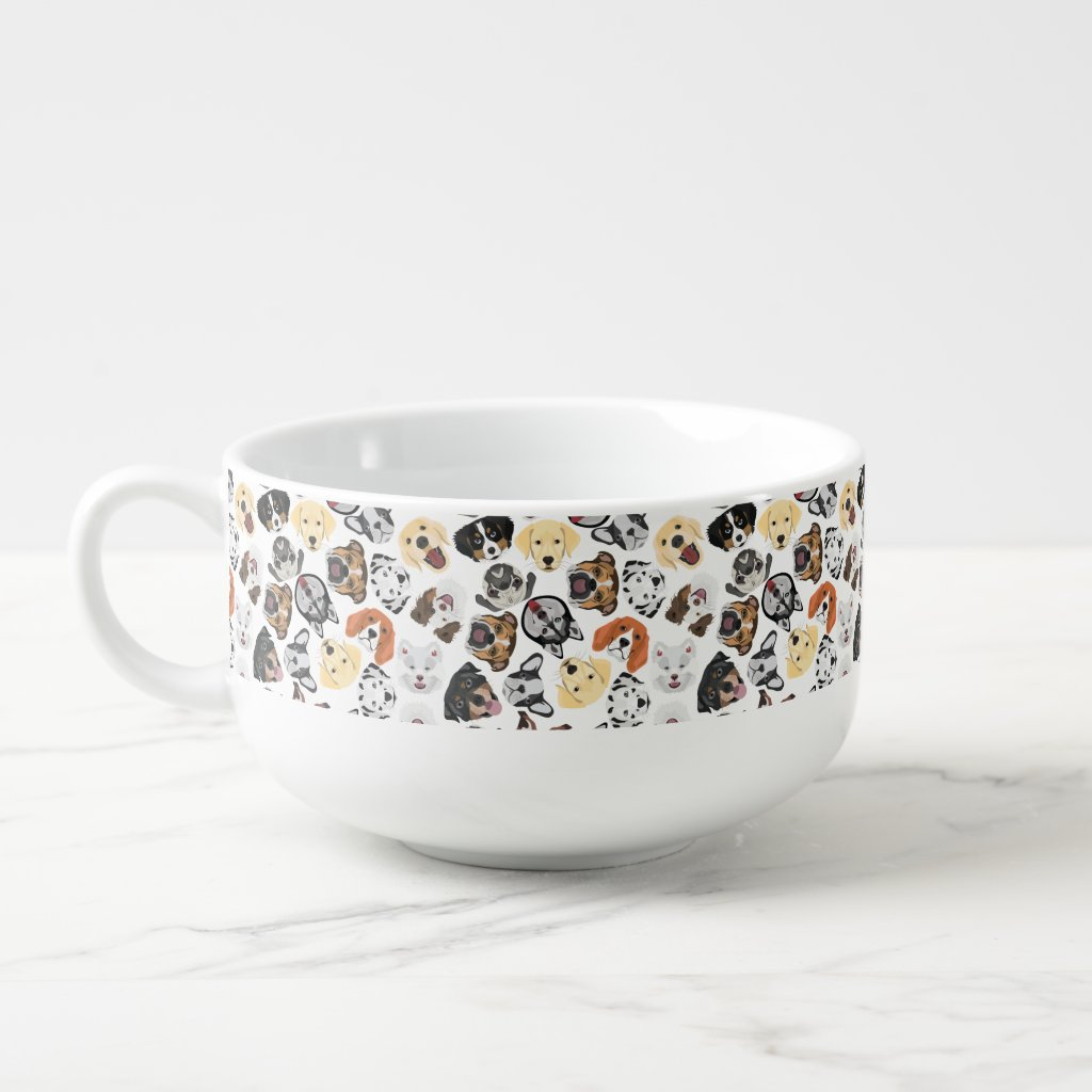 Illustration Pattern Dogs Soup Mug