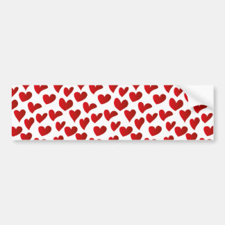Illustration pattern painted red heart love bumper sticker