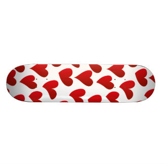 Illustration pattern painted red heart love skateboard