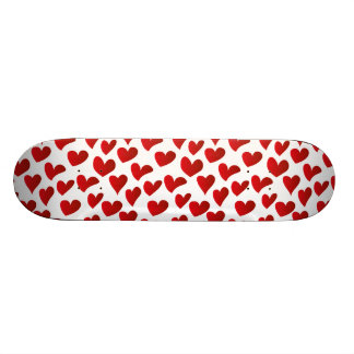 Illustration pattern painted red heart love skateboard deck
