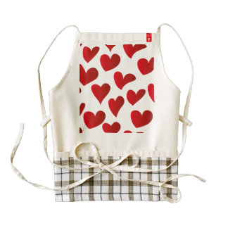 Illustration pattern painted red heart love zazzle HEART apron