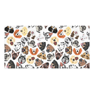 Illustration Pattern sweet Domestic Dogs Card