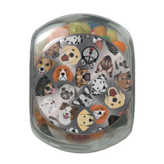 Illustration Pattern sweet Domestic Dogs Glass Jars