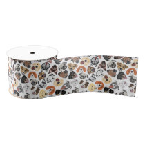 Illustration Pattern sweet Domestic Dogs Grosgrain Ribbon