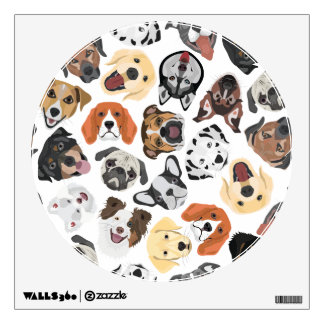 Illustration Pattern sweet Domestic Dogs Wall Sticker