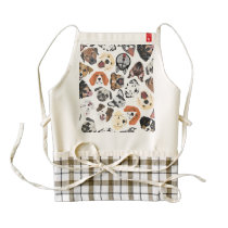 Illustration Pattern sweet Domestic Dogs Zazzle HEART Apron