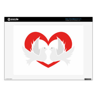 Illustration peace doves with heart decal for acer chromebook