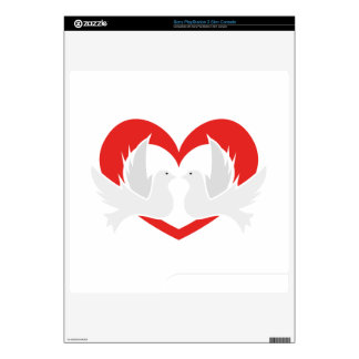Illustration peace doves with heart decal for the PS3 slim