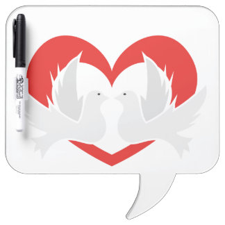 Illustration peace doves with heart Dry-Erase board