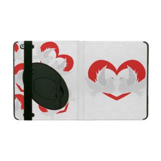 Illustration peace doves with heart iPad folio cases