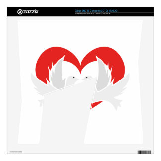 Illustration peace doves with heart skins for the xbox 360 s